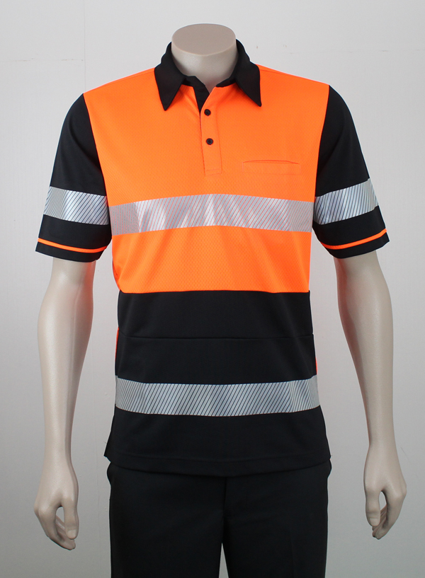 Hi Vis Panel Polo with Zebra Reflective Tape